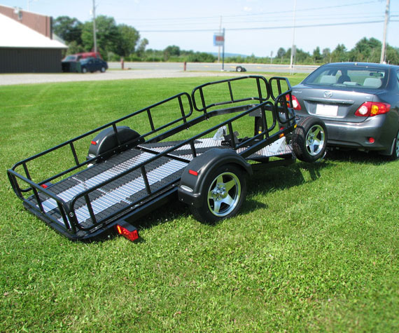 Meet the HT50, a trailer made of steel that weight only 375lbs (including wheels). Unique style with a multitude of accessories. Can be used for motorcycle, ATV and snowmobiles.