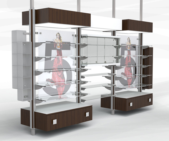 For Vic store Fixtures inc, using the existing available material used in this product line, the goal was to give new styles that would fit to other market that the line was not serving before. In this case it is for cosmetics and gifts sections of a store.